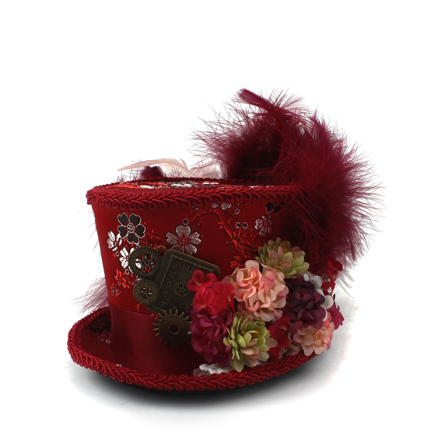LL Women;s Red Mini Top Hat, Antique Red and Ivory Tea Cup Hat Mad Hatter Hat, Tea Hat,Mad Hatter Tea Party (Color : Red, Size : 25-30cm) by LL (Image #1)