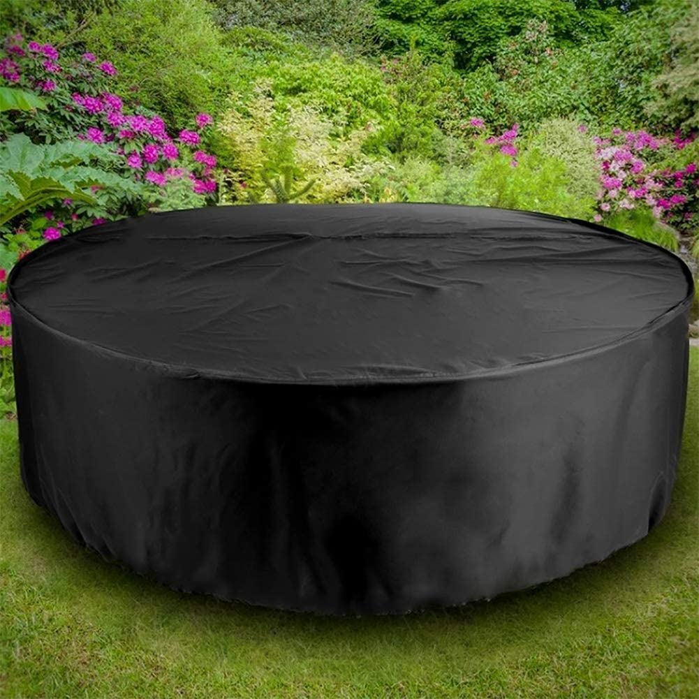 185x110CM Round Garden Table Cover Waterproof Heavy Duty Circular Outdoor Patio Furniture Shelter Cover Anti-UV Dining Table Chair Cover Anti-Dust Garden Furniture Cover