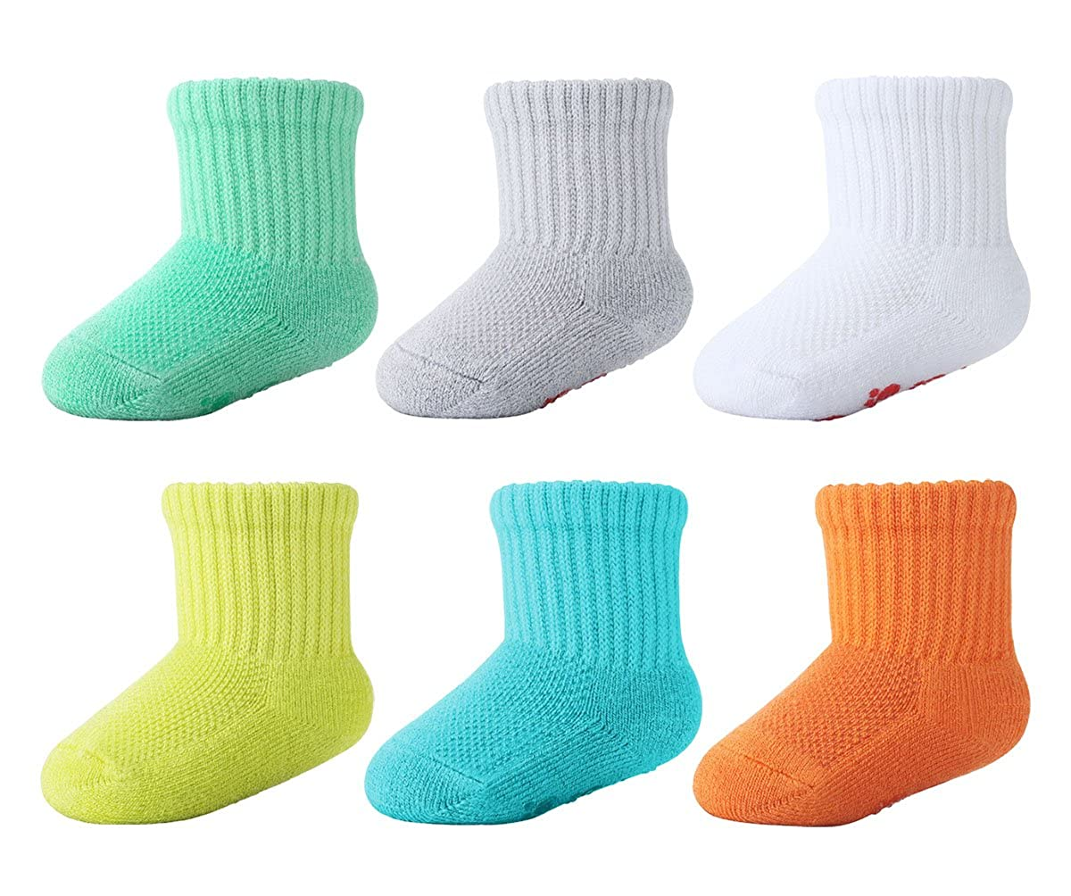 +MD 6 Pairs Baby Bamboo Socks Super Soft Sole Cushioned Newborn Toddler Non-Skid Ankle Crew Socks