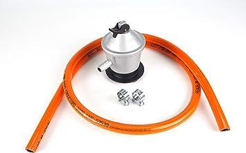 Kit regulador de gas butano + goma 1,5 metros y dos abrazaderas metálicas, Color plateado/naranja, Talla única