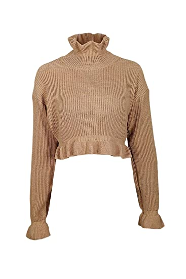 37b7ebb2ef5 Fasumava Women Knit Pullover Sweaters Winter Hot Ruffle High Neck Crop Tops  Apricot S