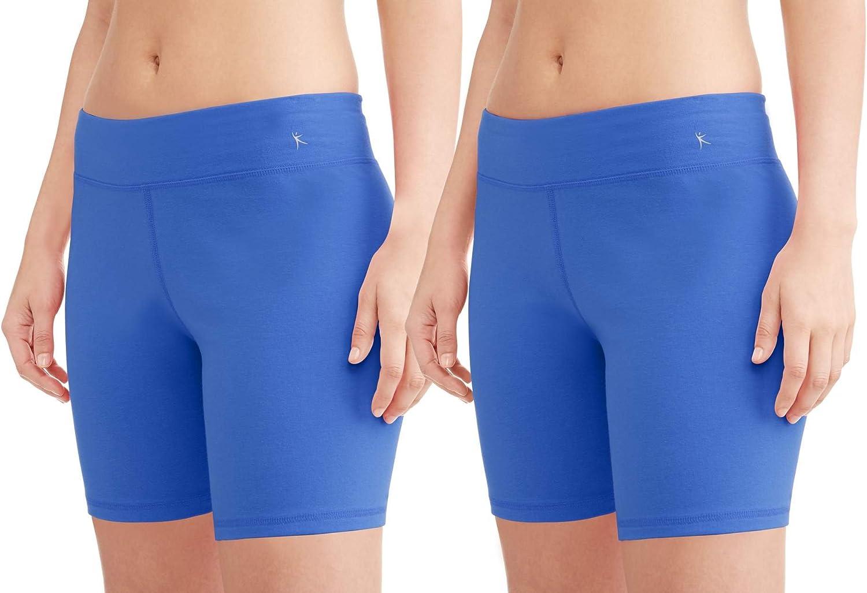 2 Pack XX-Large Danskin Now Womens Core Active Dri-More Bike Shorts Cobalt