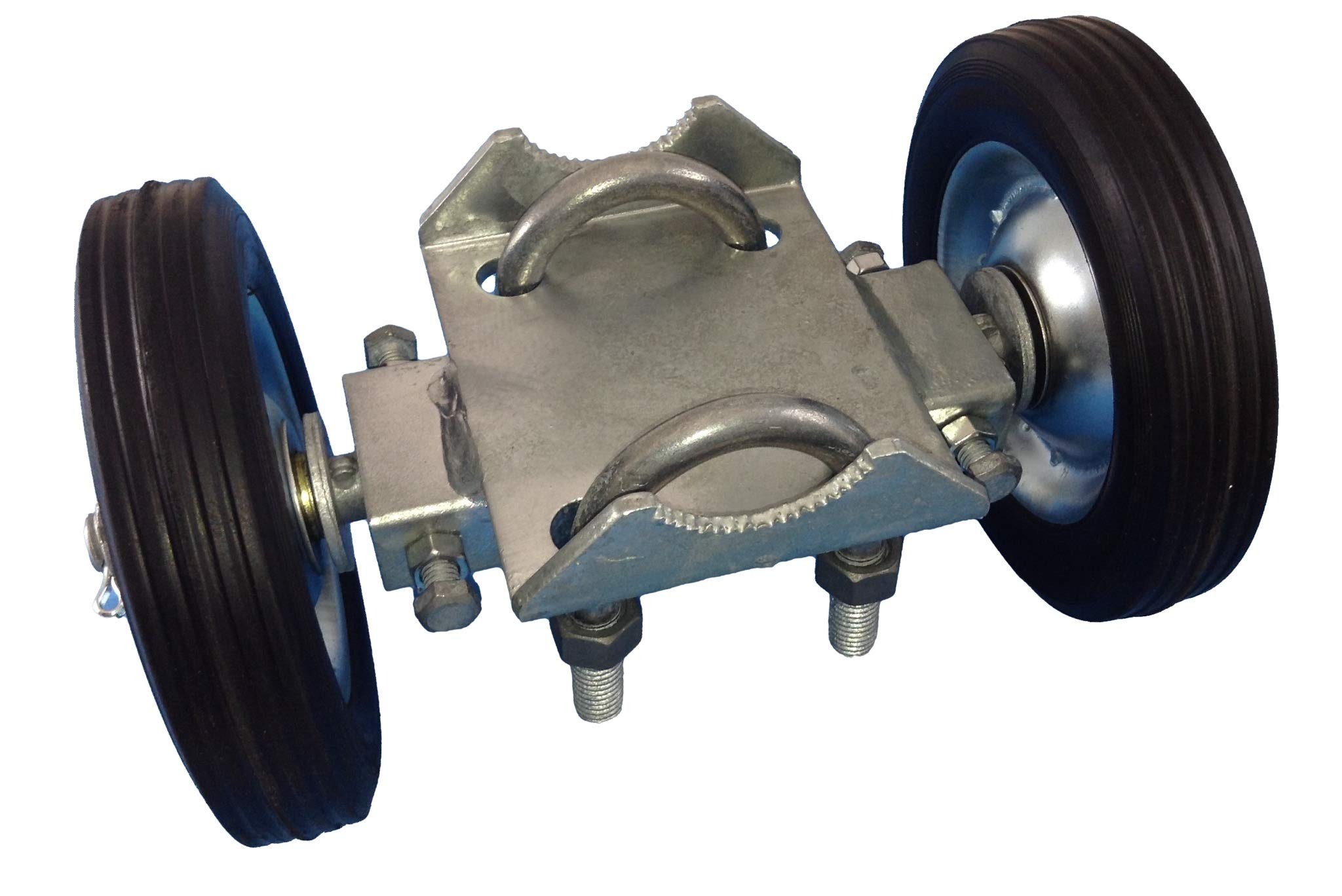 ROLLING GATE 6'' WHEEL CARRIER: for Chain Link Fence Rolling Gates - Rut Runner - 2 Rubber Wheels (axle is 6'' from wheel to wheel) Has adjustment bolts to ''track straight''. by Jake Sales (Image #1)