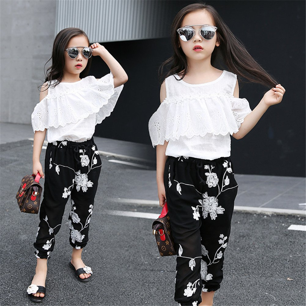 FTSUCQ Girls Pullover Off-Shoulder Lace Shirt Top + Floral Cropped Trousers,140 by FTSUCQ (Image #4)