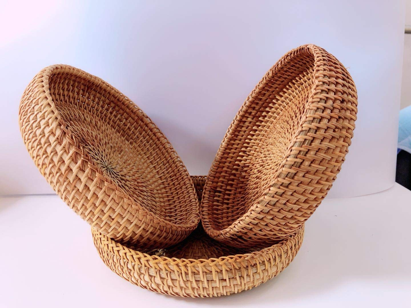 Rattan Basket Dried Fruit Basket Woven Basket Basket For Gifts Fruit Baskets Wicker Picnic Basket Wicker Basket Candy Basket 2019 Organizer Shallow Basket Gift Baskets For Women (2PCs wicker basekt) by TIMESFRIEND (Image #7)