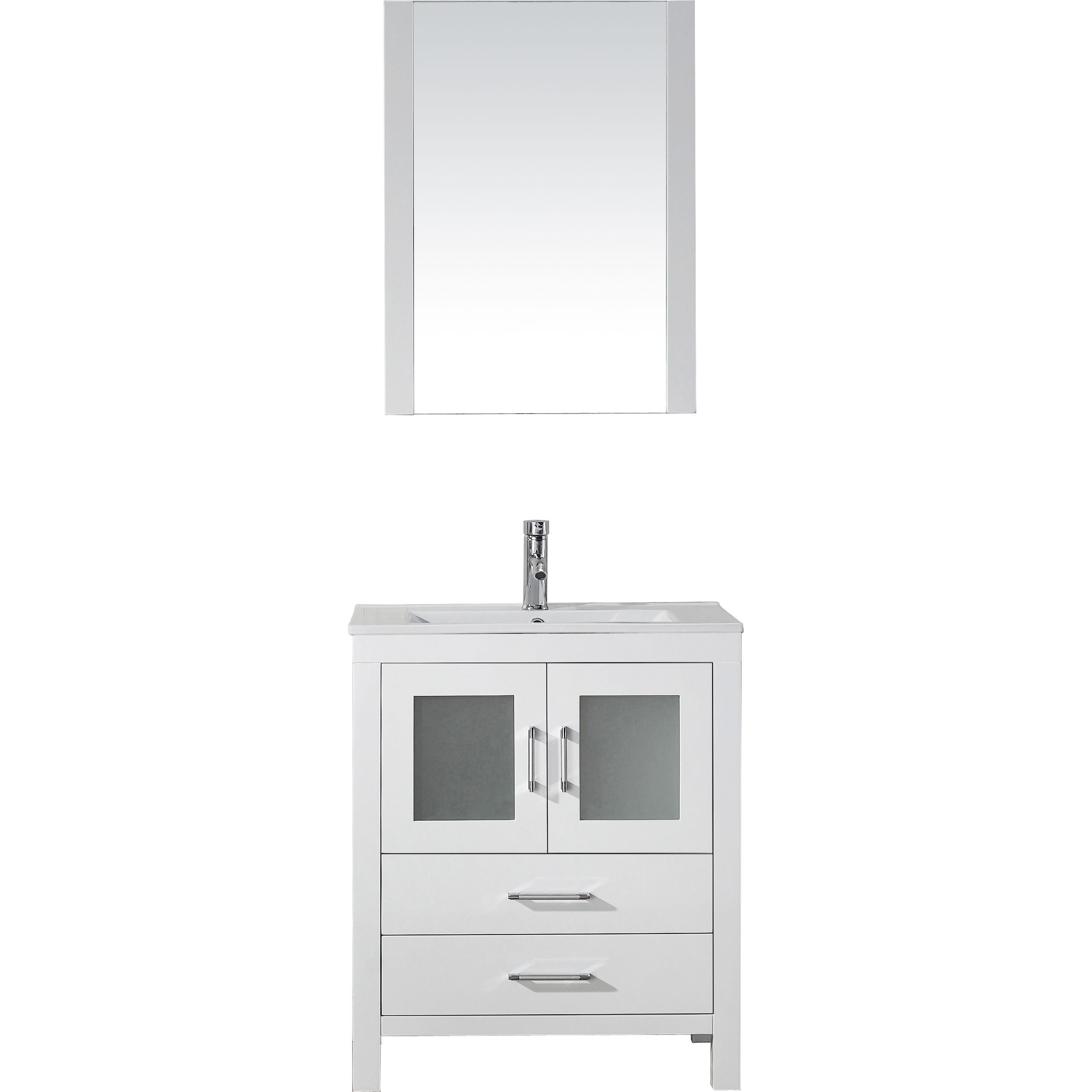 Virtu USA KS-70028-C-WH-001 Dior 28'' single Bathroom Vanity with Ceramic Top and Square Sink with Brushed Nickel Faucet and Mirror, White
