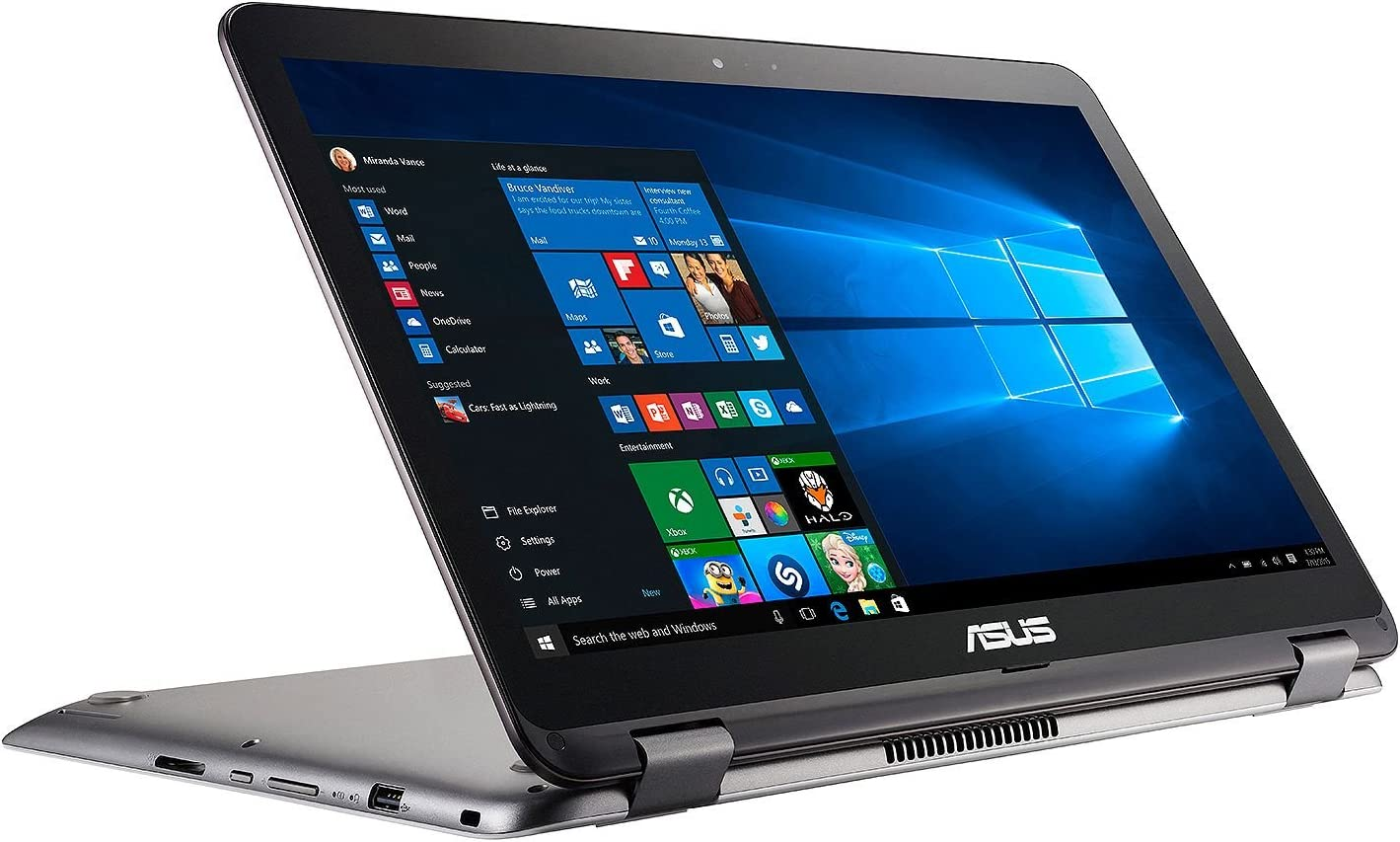 "ASUS Flip Convertible 2-in-1 Full HD 15.6"" Touchscreen Laptop, Intel Core i7-6500U Processor 2.5 GHz, 12GB DDR4 Memory, 1TB Hard Drive, USB 3.1 Type C, 802.11ac, HDMI, Bluetooth, Win 10"