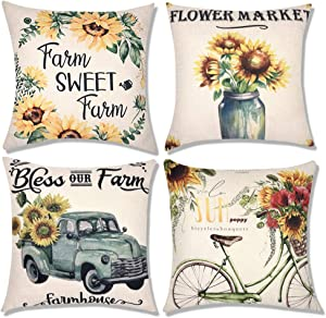 Decorbay Fall Sunflower Throw Pillow Covers 18x18 - Set of 4 Decorative Pillowcases for Sofa Couch Bed car, Autumn Harvest Themed Sunflower Couch Covers