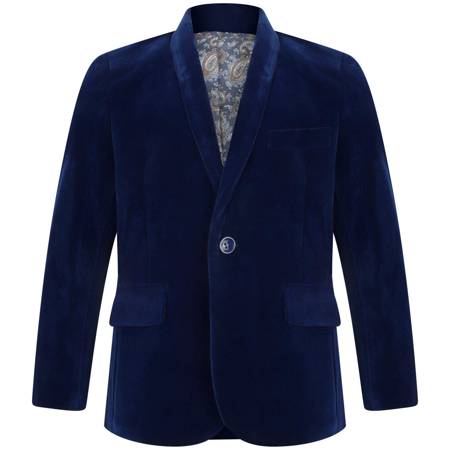 Boys Velvet Blazer Jacket Black Navy Burgundy 1 to 15 Years 2, Navy