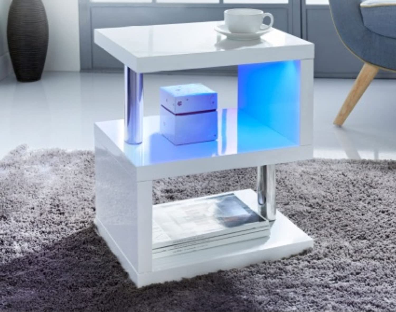 World Bb New Modern Design White High Gloss Coffee Side Table With Blue Led Lights