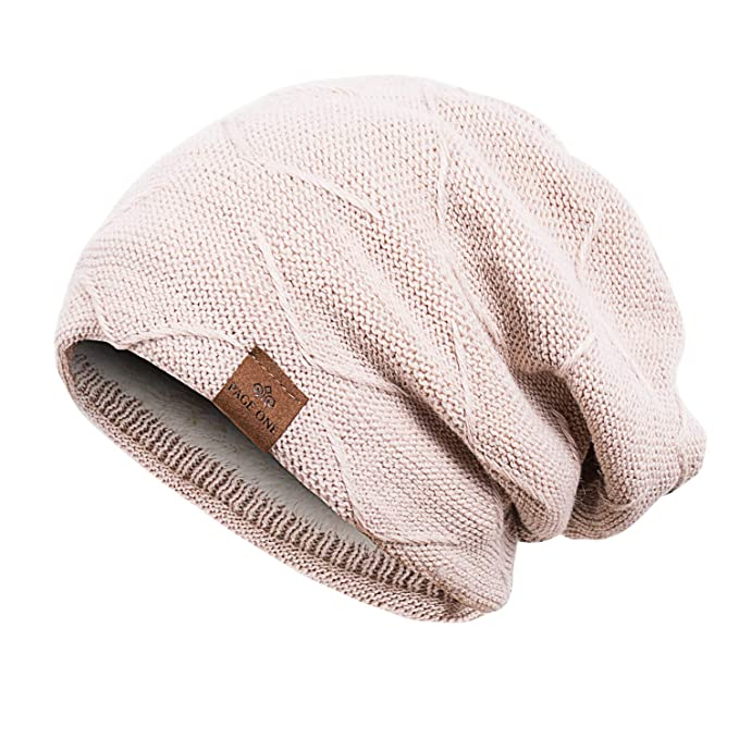 PAGE ONE Mens Winter Warm Knitting Hats Slouchy Chunky Beanie Hat Skully Cap  Men Women( 6ea29a39987