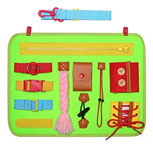 SIMBOOM Toddlers Busy Board, Basic Skills Activity Board for Early Learning Life Skills - Developmental Toys with Zippers, Buttons, Buckles for Kids Holiday Gifts,Green