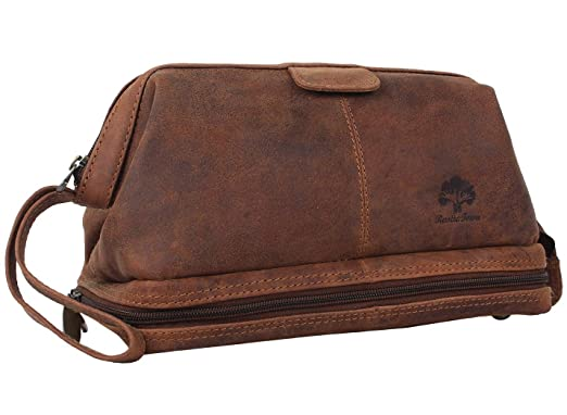 7c9054a6da6e Amazon.com  Genuine Leather Travel Cosmetic Bag - Hygiene Organizer Dopp Kit  By Rustic Town  Clothing