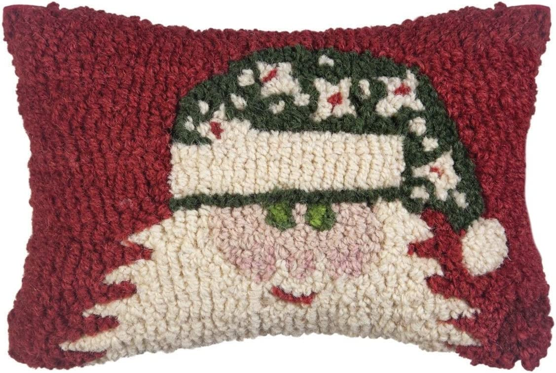 Chandler 4 Corners Green Hat Santa on Red 8 x12 Pillow