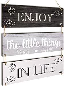 Jetec Enjoy The Little Things in Life Quote Wall Decor Family Hanging Wall Sign Rustic Wooden Hanging Wall Decor Board Decorative Wood Plank Hanging Sign for Living Room Bedroom Outdoor (Gray Series)