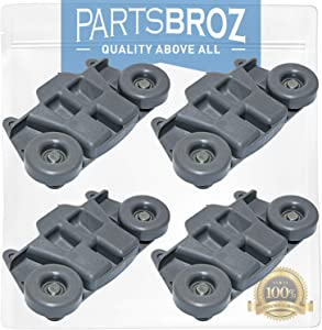 W10195416V (4-Pack) Lower Dishrack Wheel Assembly with Steel Screws by PartsBroz - Compatible with Whirlpool - Replaces AP5983730, W10195416, PS11722152, W10195416VP