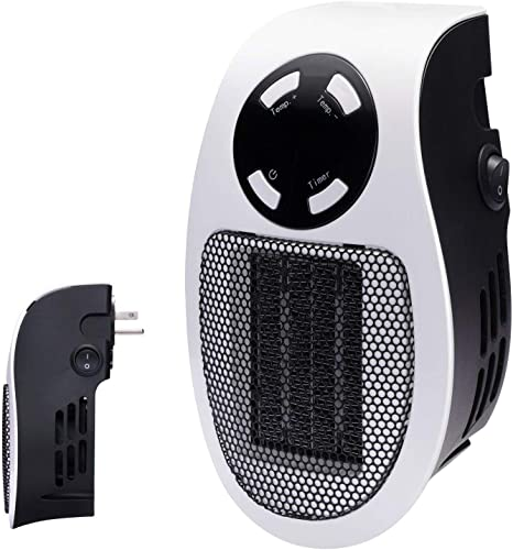 BSJ Fixings Portable Flat Fan Heater and Air Cooler Adjustable Thermostat Safety Cut Out 2 Heat Settings 1000W 2000W 1KW 2KW White With Carry Handle