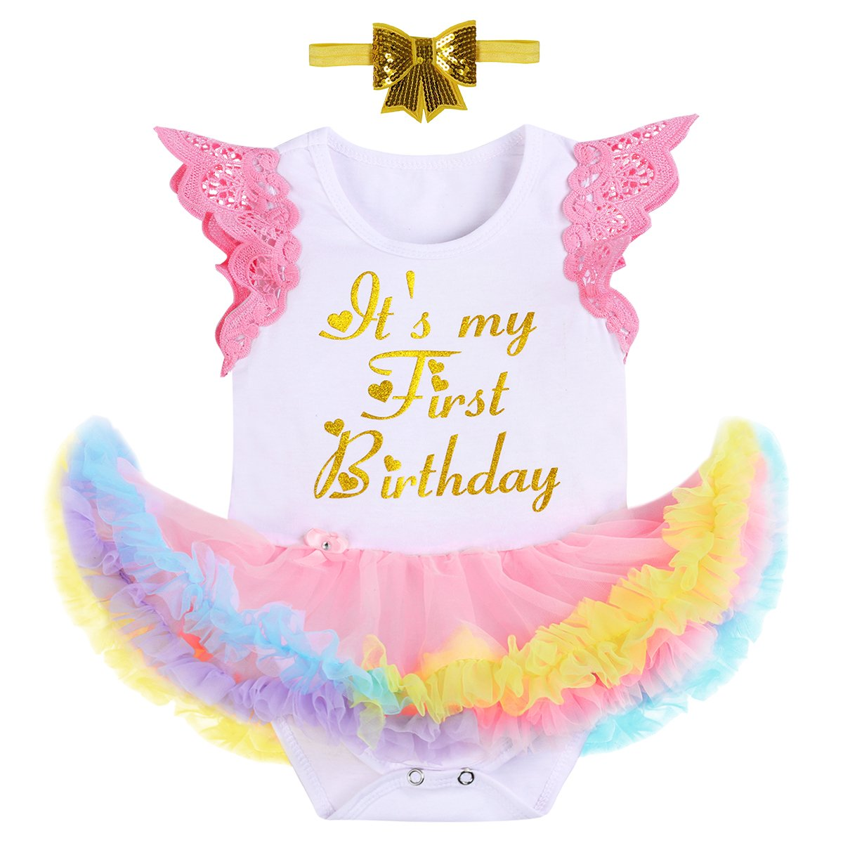Princess Unicorn Costume First Birthday Baby Girl Romper Tutu Dress Headband Outfit