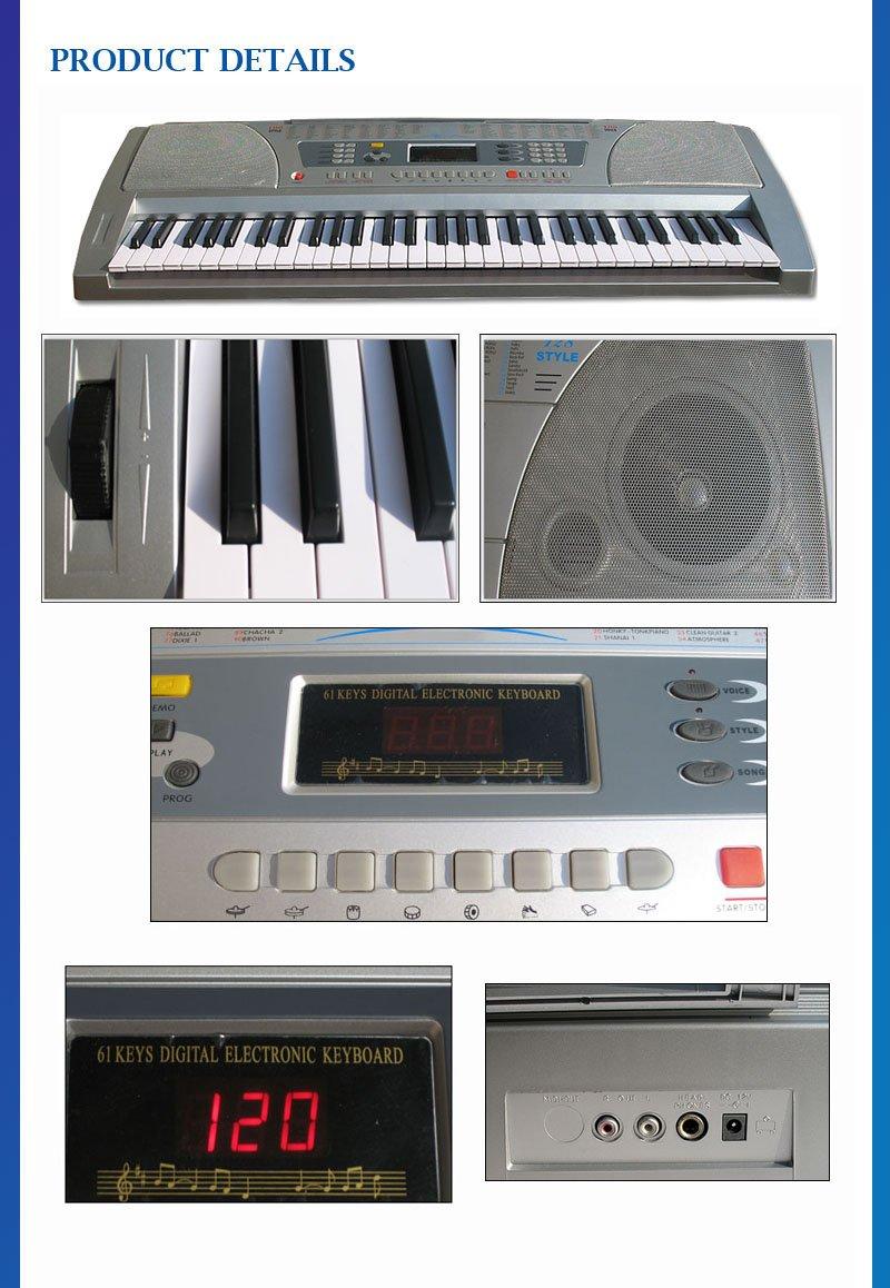 Amazon.com: 27 Electronic Music Keyboard E Silver 61 Key Ark-2172: Musical Instruments