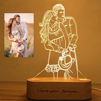 Night Light as Gift for Him Custom 3D Led Lamp with Photo Anniversay Gift Personalised Lamp Gift for her Instagram Style