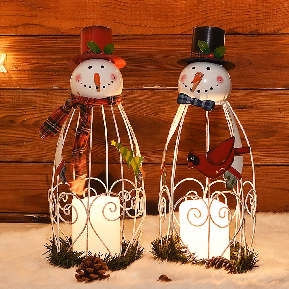 Juegoal Christmas Snowman LED Candle Lantern Lights Battery Operated Christmas Holiday Party Decorations  2 Pack