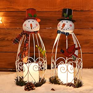 Juegoal Christmas Snowman Led Candle Lantern Lights Battery Operated Christmas Holiday Party Decorations 2 Pack Home Kitchen