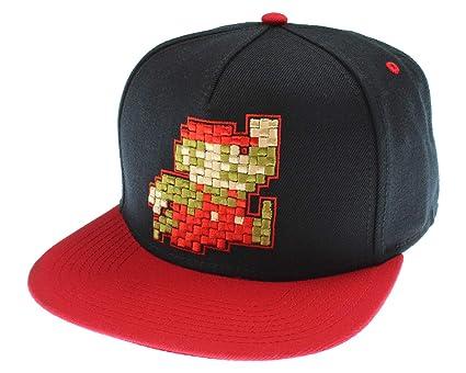 594773bbb Nintendo Super Mario Hat Pixel Mario Character Black Snapback Hat - One Size