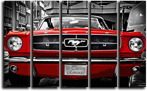 Big 5 Piece Red Mustang 1964 Wall Art Decor Picture Painting Poster Print on Canvas Panels Piece