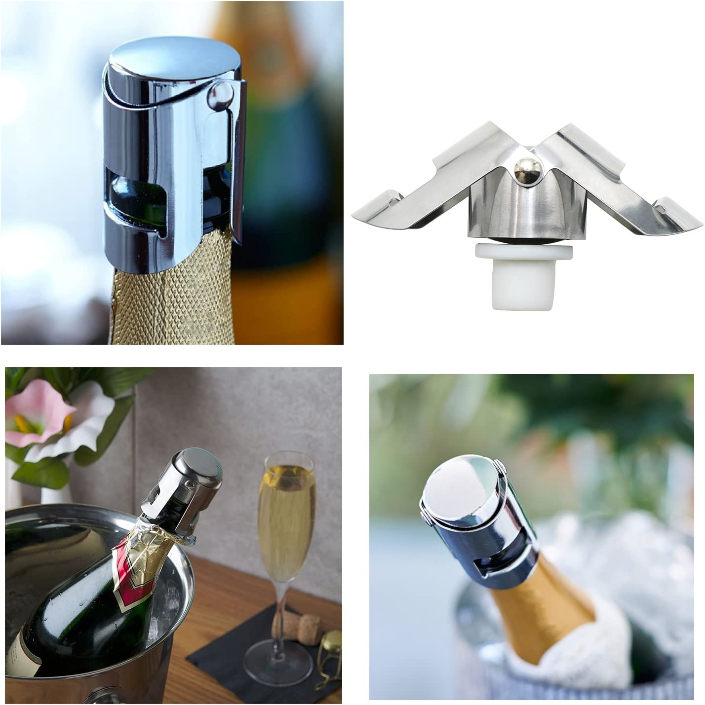Set of 2 Waykino Champagne Bottle Stopper,Stainless Steel Wine Bottle Sealing Plug