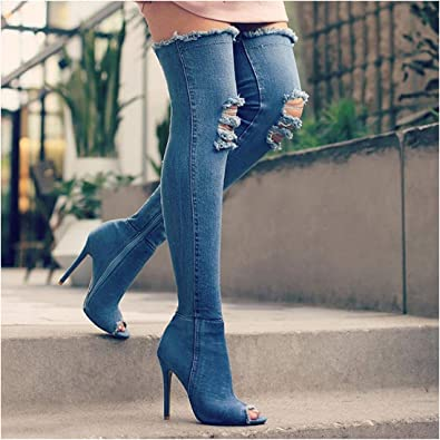 Thigh High Boots Over Jeans