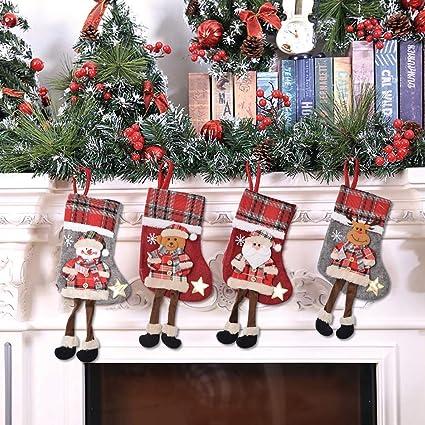 Decorazioni Natalizie Caramelle.Bestzy Calza Di Natale 4pcs Christmas Stockings Sacchetti Di Caramelle Regalo Per Albero Di Natale Festa Di Natale Decorazioni Amazon It Casa E Cucina