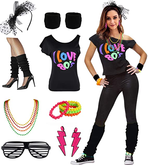 Womens I Love The 80\u0027s Disco 80s Costume Outfit Accessories