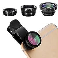 Bullspring 3 en 1 kit de lentes Clip universal para móvil celular,lente macro y kit de lente gran angular, lentes de cámara para teléfono celular con clip para iPhone, Android, teléfonos móviles Samsung y tabletas