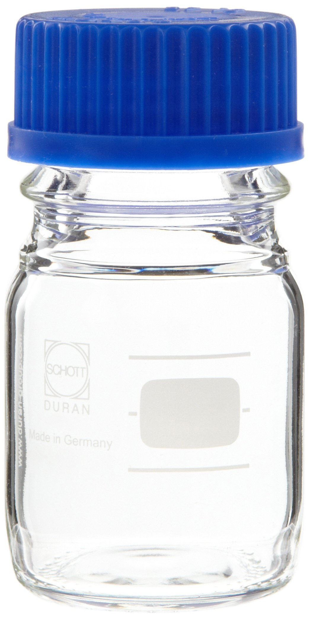Chemglass CLS-1172-50 Glass 50mL Schott Media Storage Bottle, with Blue Cap and GL-45 GPI Thread (Case of 10)