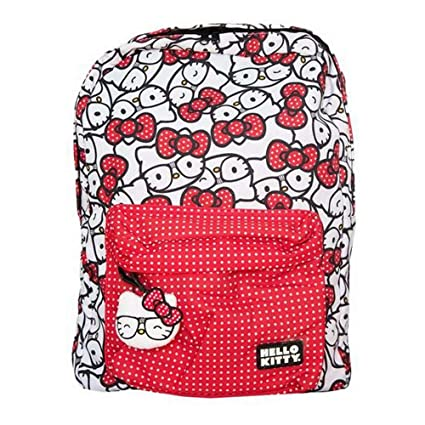 2c07535d33 Amazon.com  Loungefly Hello Kitty Nerd Polka Dot Backpack (White Red Polka  Dot)  Arts