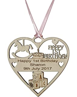 PERSONALISED GIRLS 1ST BIRTHDAY PLAQUE ENGRAVED WITH THE WORDING OF YOUR CHOICE Pink Ribbon
