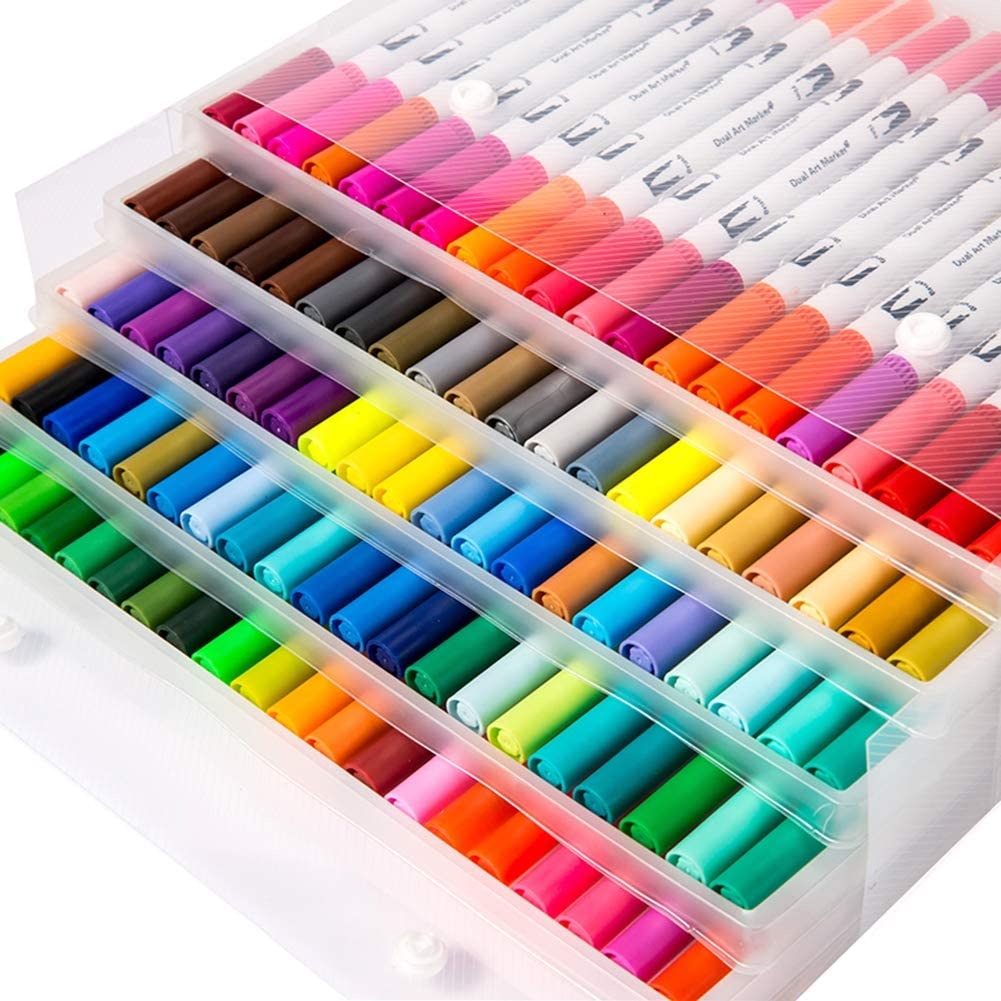 Litchitree Colouring Pens, 100 Colours Art Watercolour Brush Pens Tip and Fine Tip WAS £26.99 NOW £13.50 w/code 7QD9GXZC @ Amazon