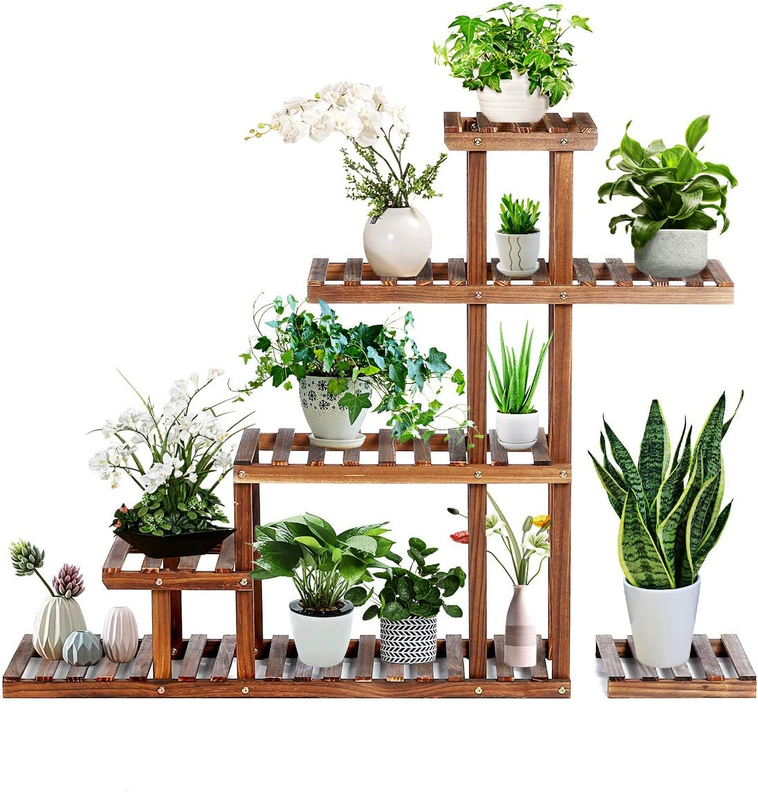 TOOCA Wood Plant Stand Indoor, 5 Tier Stylish Outdoor Plant Flower Stand, Multiple Tier Plant Display Rack Holder, Steady Vertical Carbonized Shelves for Patio Livingroom Balcony Garden Yard