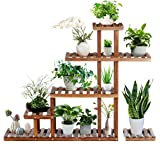 TOOCA Wood Plant Stand Indoor, 5-Tier Stylish Outdoor Plant Flower Pot Stand, Multiple Tier Plant Display Rack Holder…