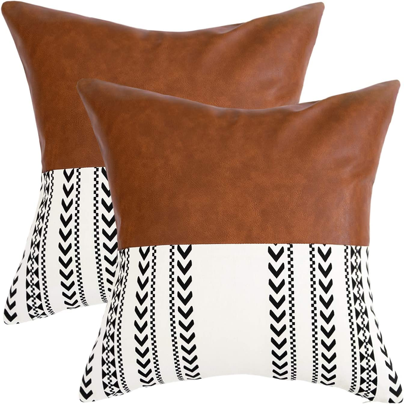 famibay Boho Couch Pillow Cover 18X18 Inch, Set of 2 Moroccan Natural Cotton and Faux Leather Fabric Modern Decor Cushion Cases