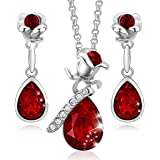 CDE Flower Jewelry Set for Women Vintage Style Crystals from Swarovski Pendant Necklaces and Earrings Christams Gifts