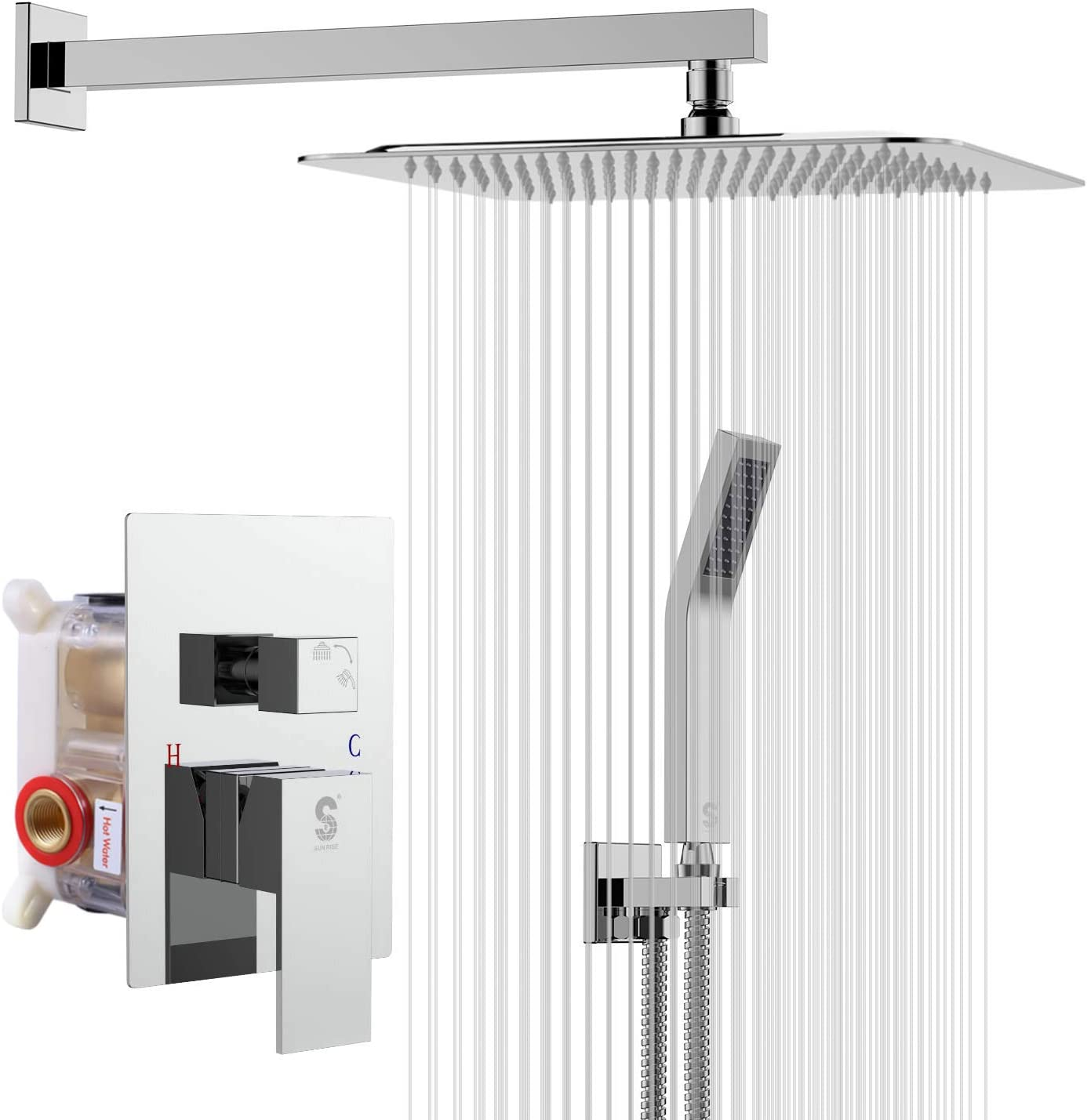 SR SUN RISE SRSH-F5043 10 Inches Bathroom Luxury Rain Mixer Shower Combo Set Wall Mounted Rainfall Shower Head System Polished Chrome Shower Faucet Rough-in Valve Body and Trim Included - -