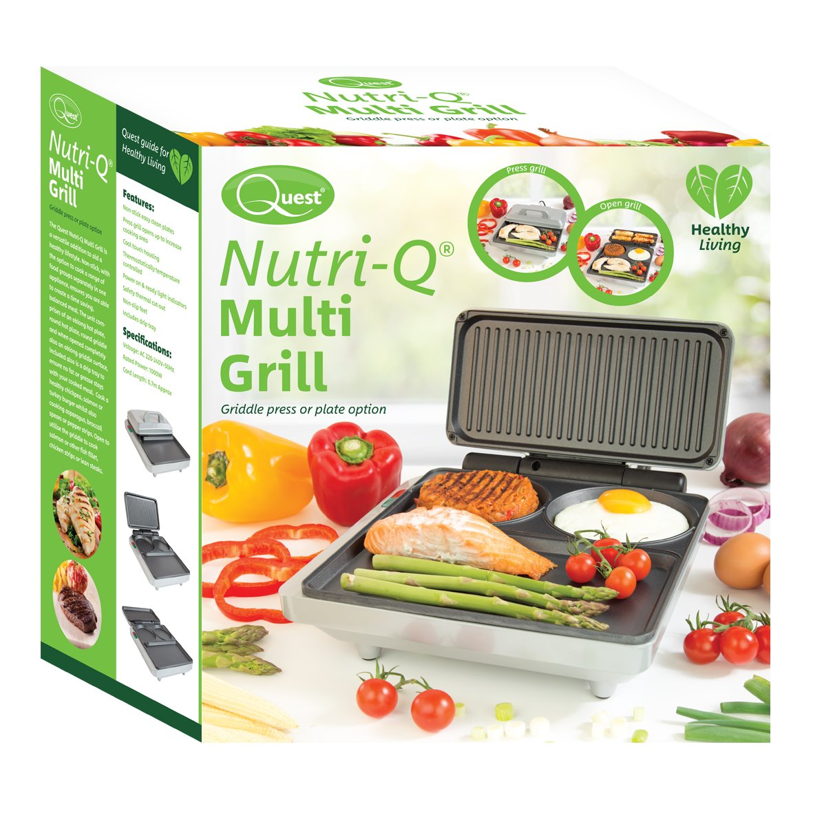 Nutri Q By Quest 34700 Non Stick Thermostatically Controlled Blackmores Nutrimulti 100 Compartmentalized Fold Out Electric Multi Grill And Griddle 1000 W Grey