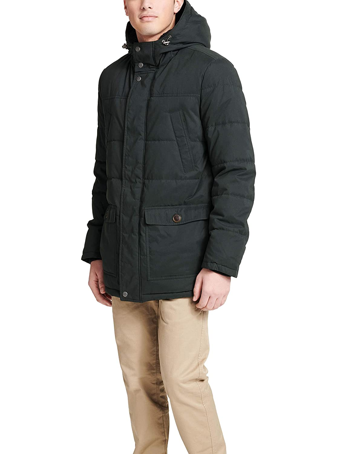 Dockers Mens Microtwill Long Hooded Parka