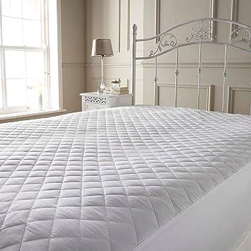 Protector para colchón, todos los tamaños, Protector acolchado de colchón, Blanco, cama individual: Amazon.es: Hogar