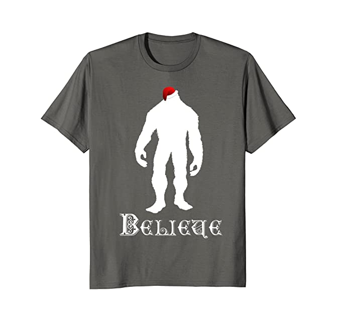 mens funny believe christmas shirt bigfoot in santa hat t shirt 2xl asphalt