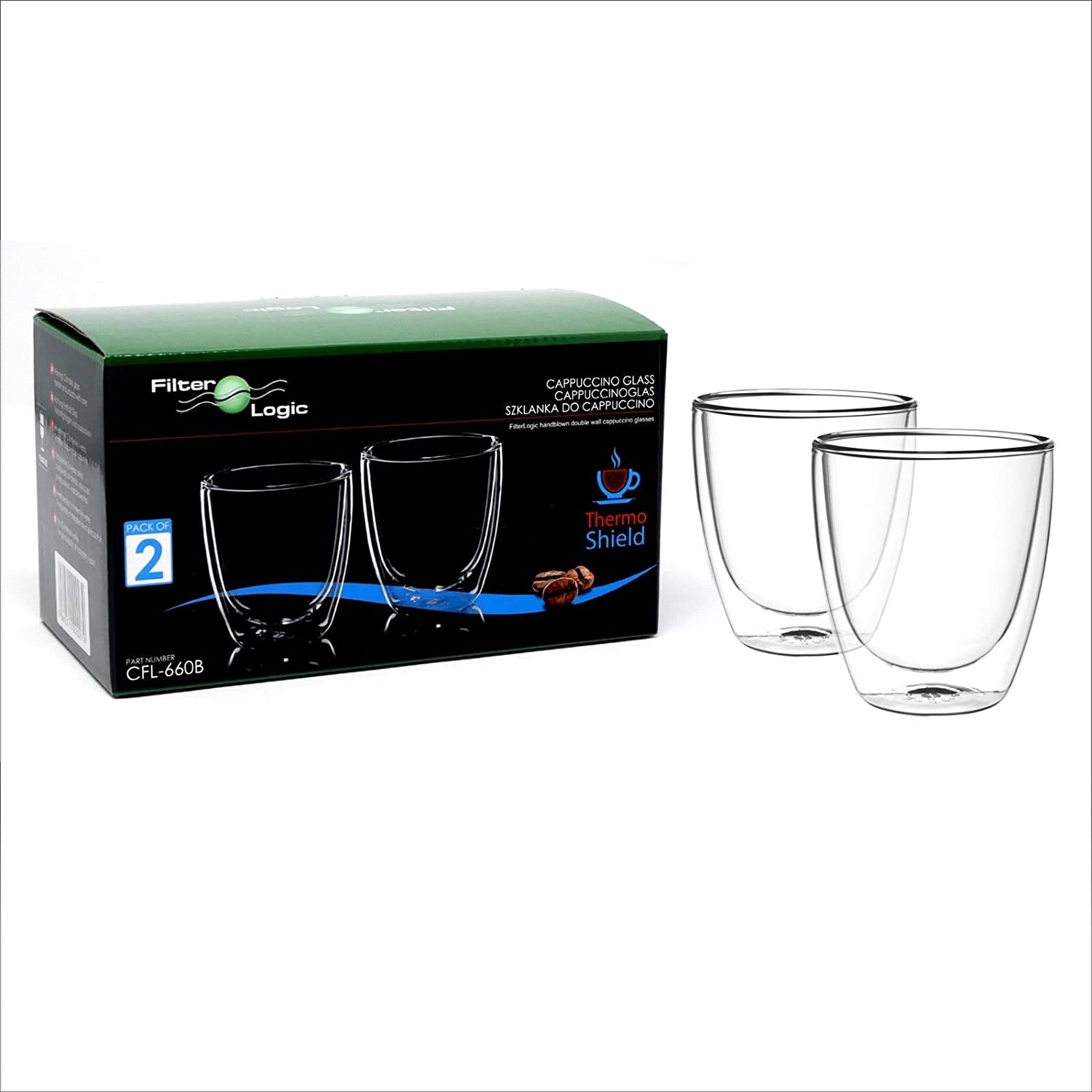 FilterLogic CFL660 Thermoshield Double Walled Cappuccino/Tea/Milk/Hot Chocolate/Coffee Vacuum Glass (Twin Pack) - Dishwasher Safe - Ideal for Coffee/Gift Lovers CFL-660