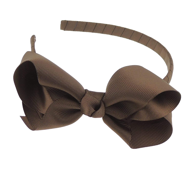 Girls Party School Large Grosgrain Ribbon Bow 1cm Headband Alice Band Burgundy Glamour Girlz