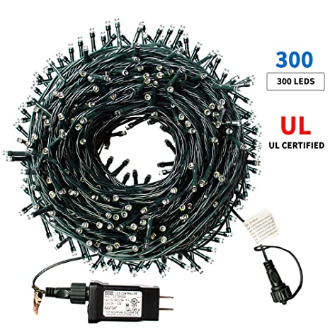 Xtf2015 105ft 300 Led Christmas String Lights End To End Plug 8 Modes Christmas Lights Ul Certified Outdoor Indoor Fairy Lights Christmas Tree