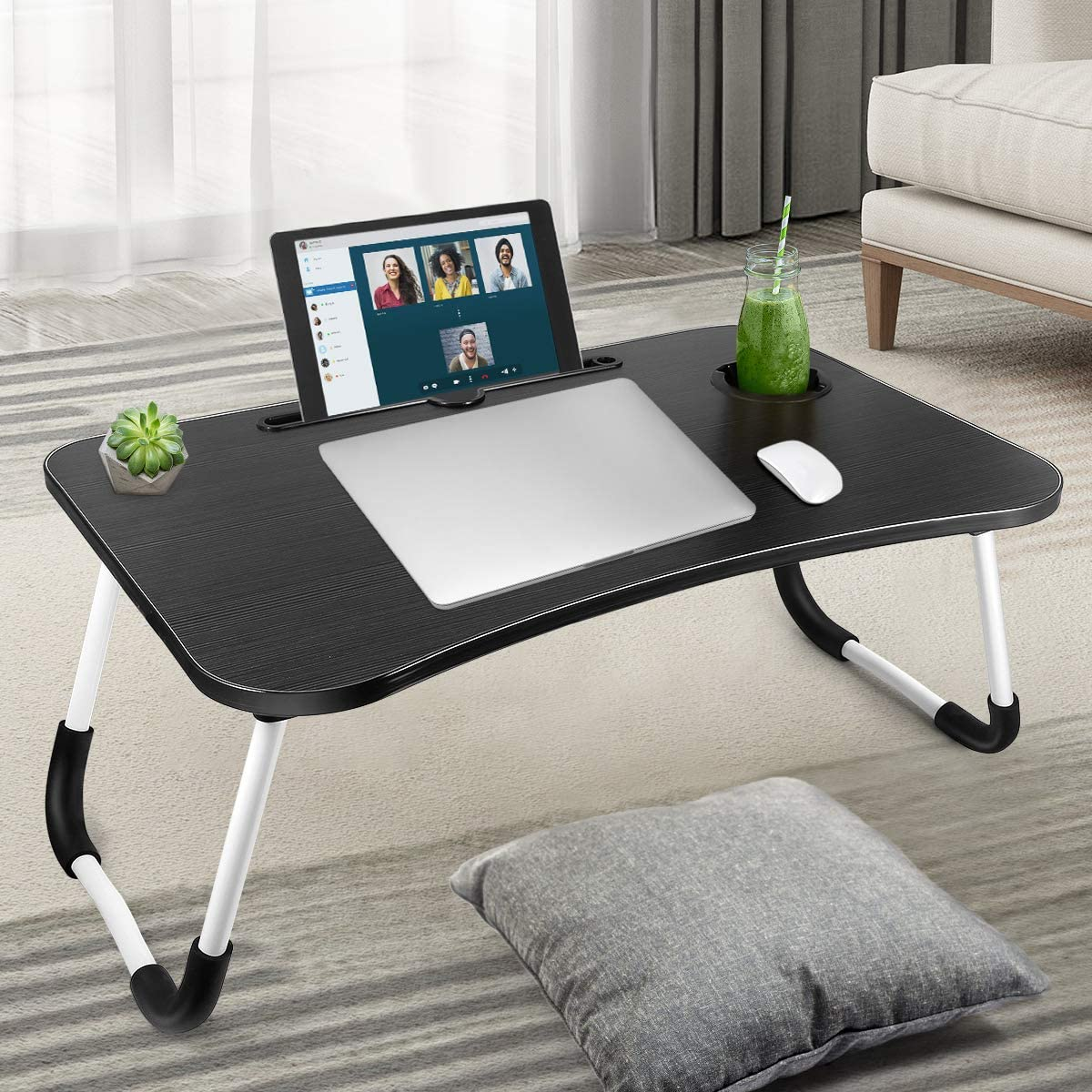 Foldable Laptop Table, Portable Laptop Bed Tray Table, Lap Standing Desk, Notebook Stand Reading Holder Breakfast Serving Bed Tray with Tablet Slots & Cup Holder for Bed/Couch/Sofa